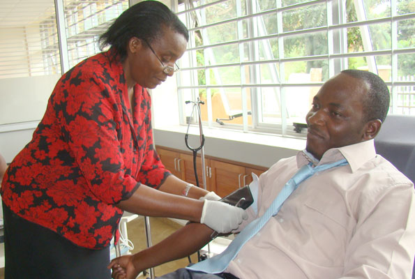 MP Mathias Mpuuga donates blood on Wednesday: NET PHOTO