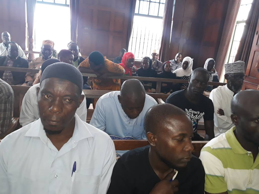 Some of the suspects at the High Court this morning: PHOTO BY RACHEAL AGABA