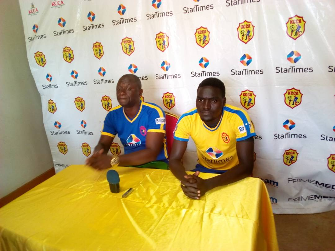 Pic 2. Mike Mutebi (left) and captain Timothy Awanyi (right) addressing the media ahead of Wednesday's encounter with CNaPS in the CSF Champios league: PHOTO BY SHABAN LUBEGA