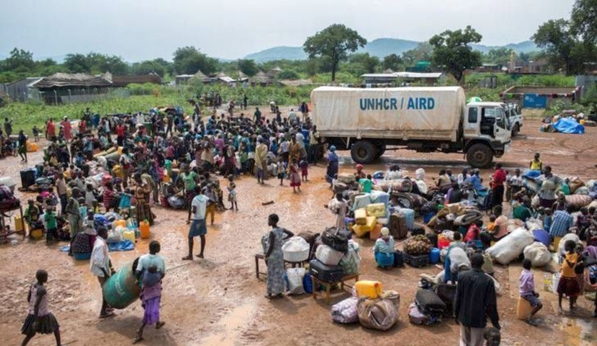 Refugees from South Sudan arrive at a receiving camp in West Nile.