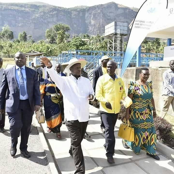 President Museveni tours Lirima gravity water treatment plant in Manafwa on Saturday