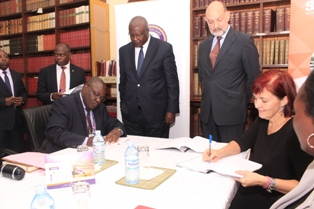 Judiciary and DFID/SUGAR Officials at the signing of the agreements last week: COURTESY PHOTO