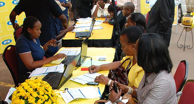 MTN customers register their simcards at a service centre.