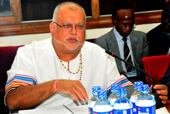 Business Mogul, Sudhir Ruperalia speaks at a recent ceremony. The businessman and proprietor of the defunct Crane Bank is set to appear before COSASE Wednesday morning in a bankprobe in to the controversial closure of banks by Bank of Uganda (FILE PHOTO)