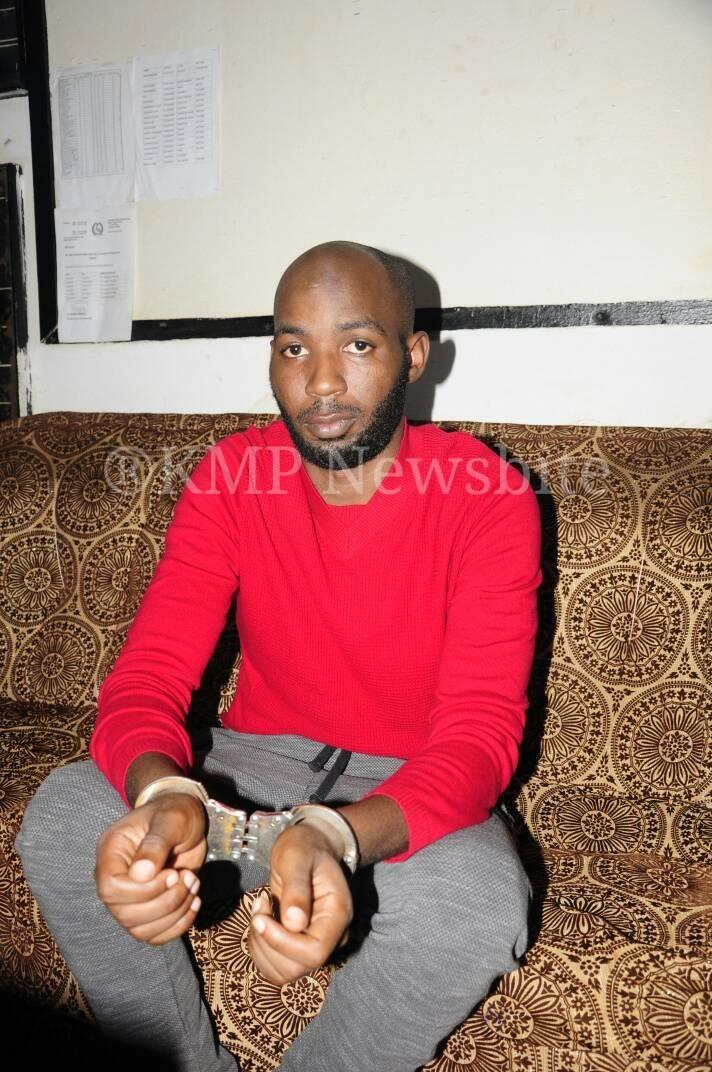 Prime suspect Troy Wamala at Katwe Police Station on Sunday