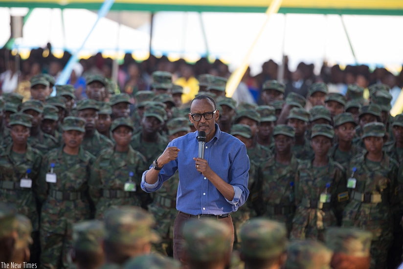 Rwanda president Paul Kagame talks to soldiers. Reports have been written about violations carried out by the Rwandan forces, which the government has branded false: NET PHOTO