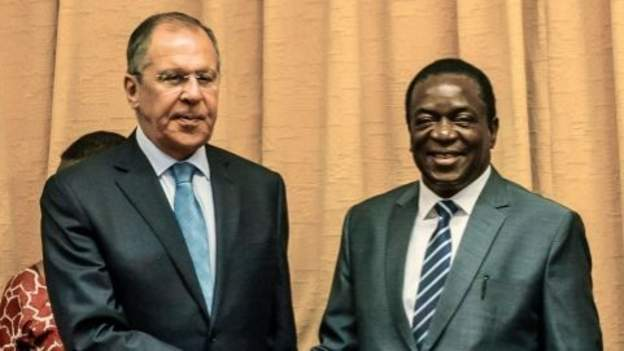 Russia's Foreign Minister Sergei Lavrov with Zimbabwe's president Emmerson Mnangagwa.