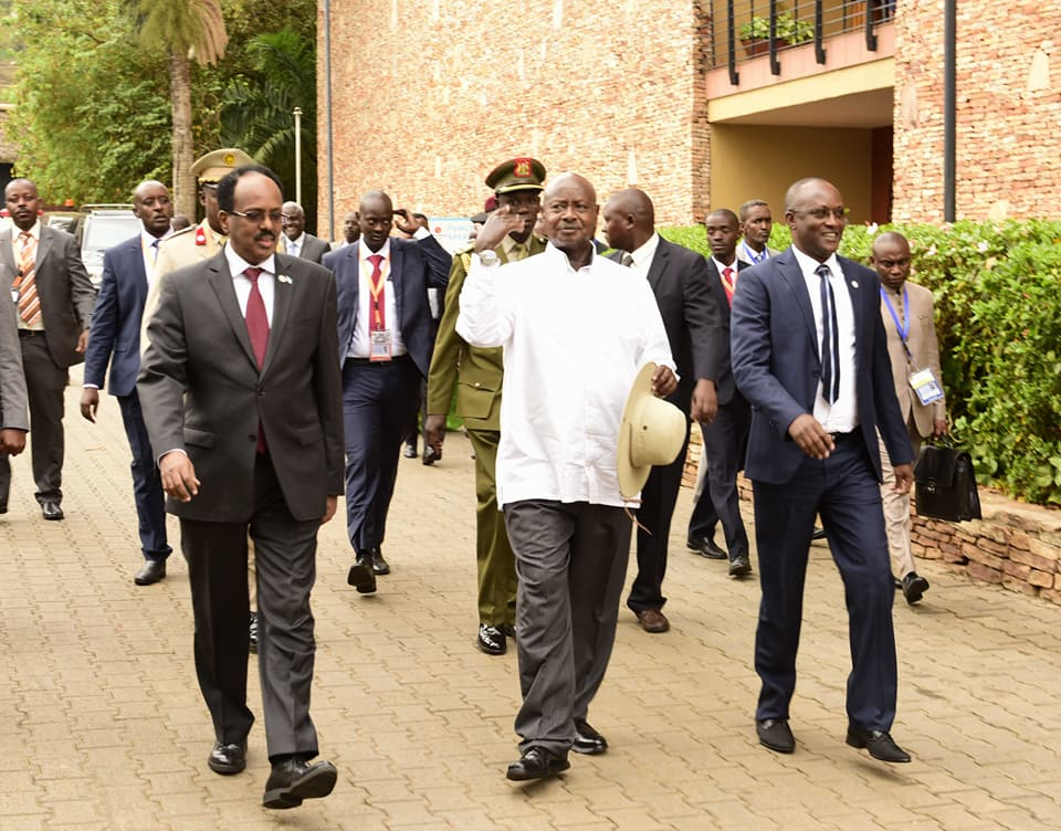 President Museveni with Mohammed Abdullahi Farmajo, President of the Federal Republic of Somalia, after the ummit of Heads of State and Governments of AMISOM Troop Contributing Countries today at Speke Resort Munyonyo on Friday: COURTESY PHOTO