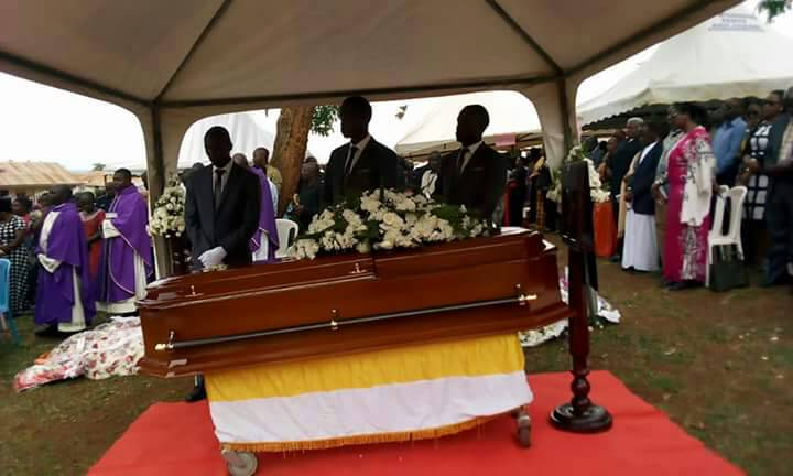 The casket at the burial ceremony in Hoima on Thursday, March 1.