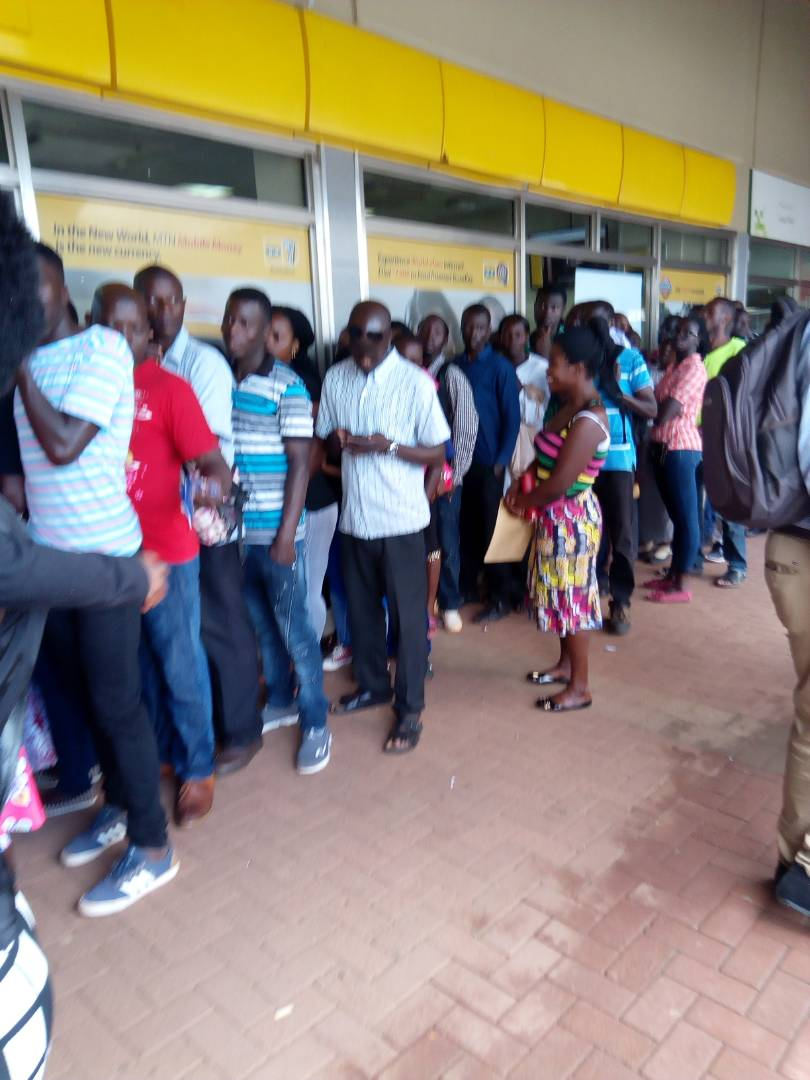 Customers queueing at an MTN store when the Telecom announced resumption of SIM card replacements earlier this month