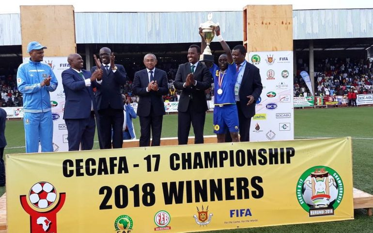 Tanzania's cptain lifting the U-17 CECAFA trophy on Sunday