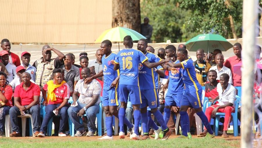 KCCA FC players celebrating Shaban's goal against Kitara on Saturday.