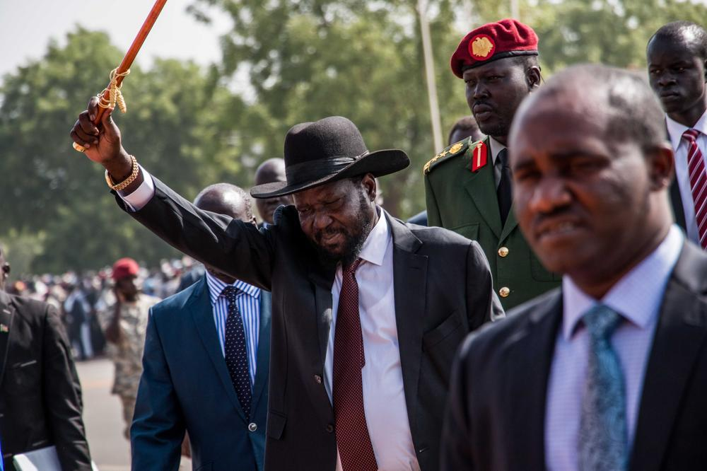 President Salva Kiir waves at a recent function.