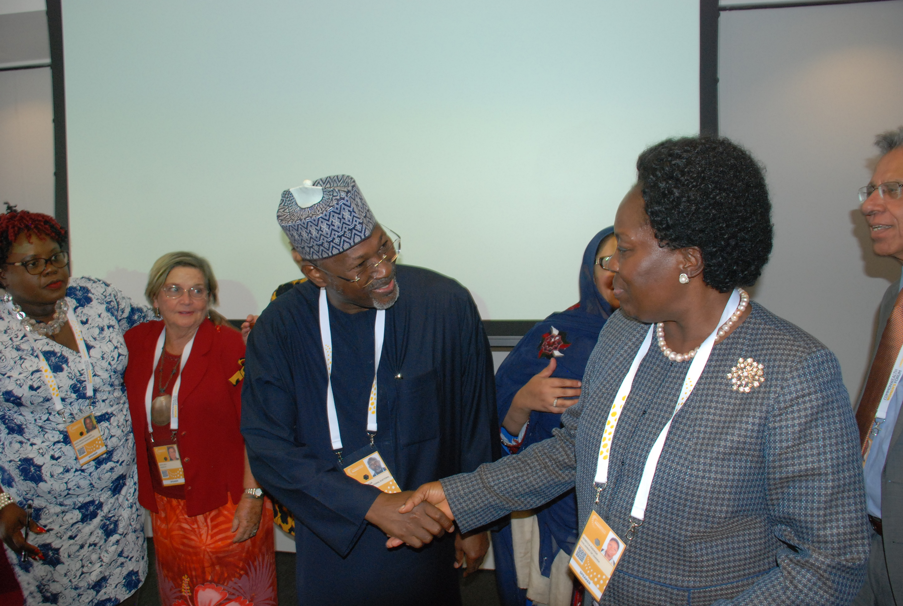 Speaker Rt. Hon. Rebecca Kadaga interacting withProf. Attahiru Jega at 2018 Commonwealth Women's Forum in London, UK-1