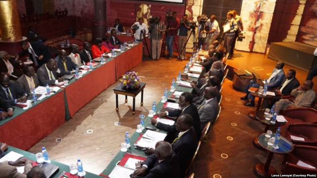 South Sudan rival parties at a past meeting in Addis Ababa.