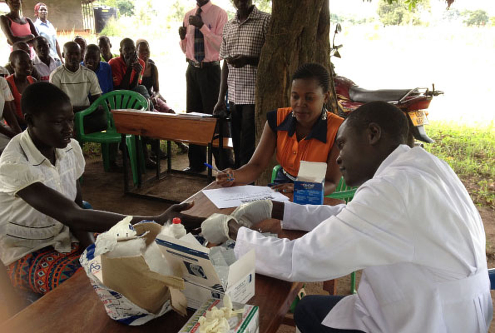 A patient (Left) is vaccinated against Hepatitis B in Soroti (FILE PHOTO)