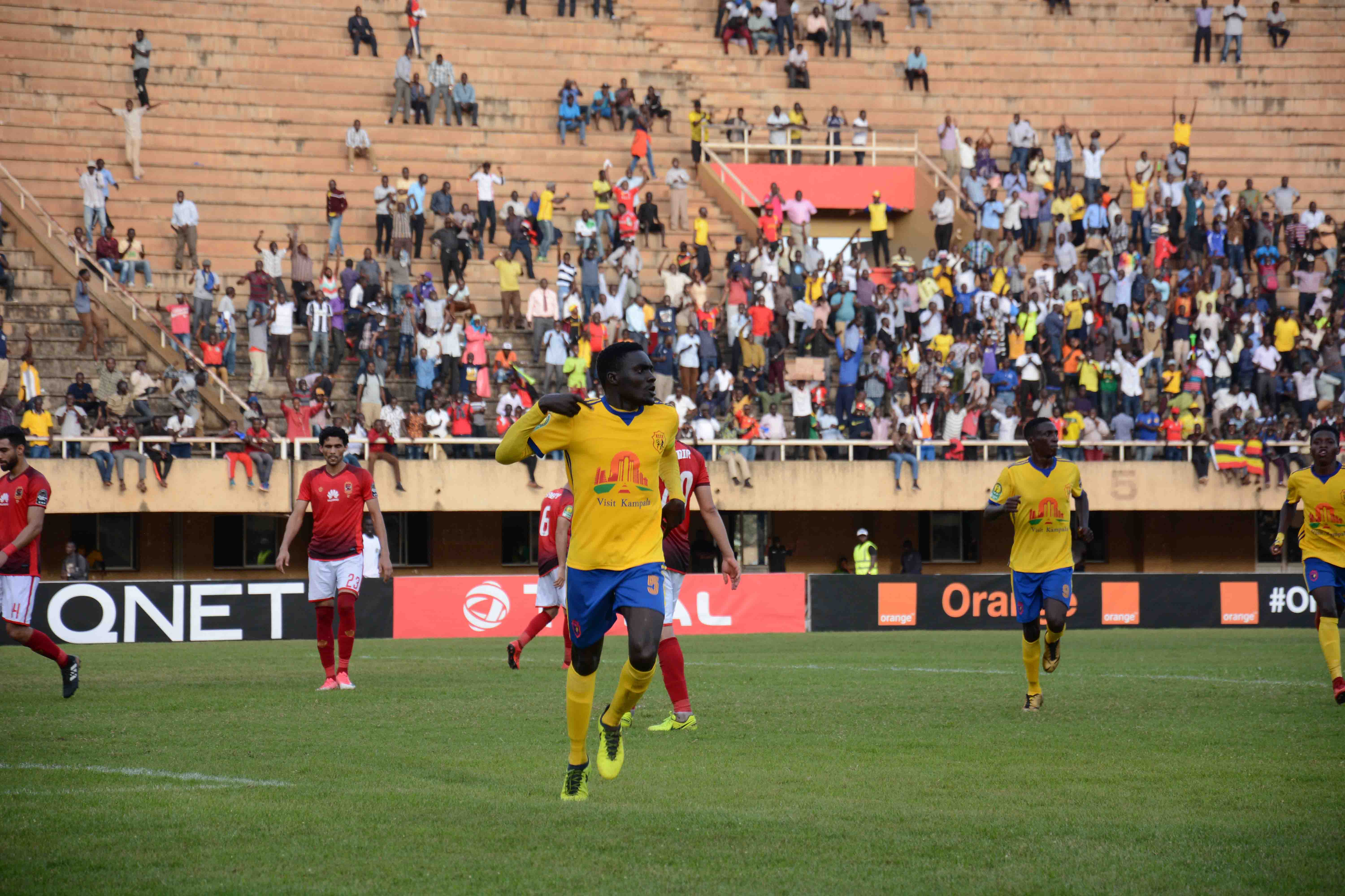 Timothy Awanyi celebrating after converting a penalty against Al Ahly
