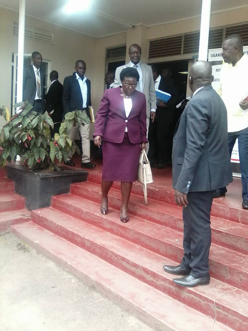 Works minister Azuba Ntege at UNRA offices in Kyambogo,  where she presented updates on her ministry's achievements.