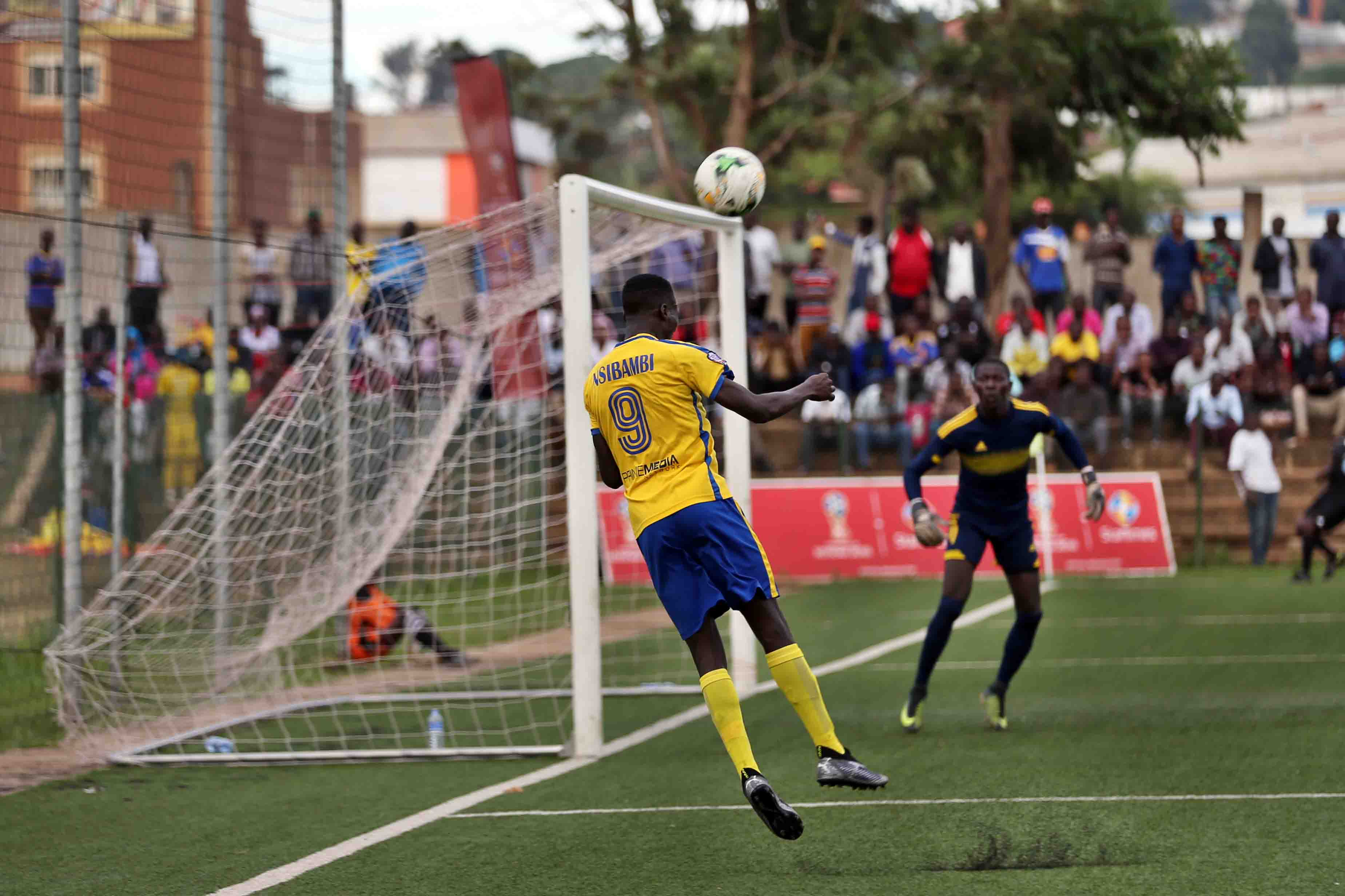Derrick Nsibambi heads a ball towards the goal on Tuesday (Photo by Shaban Lubega)