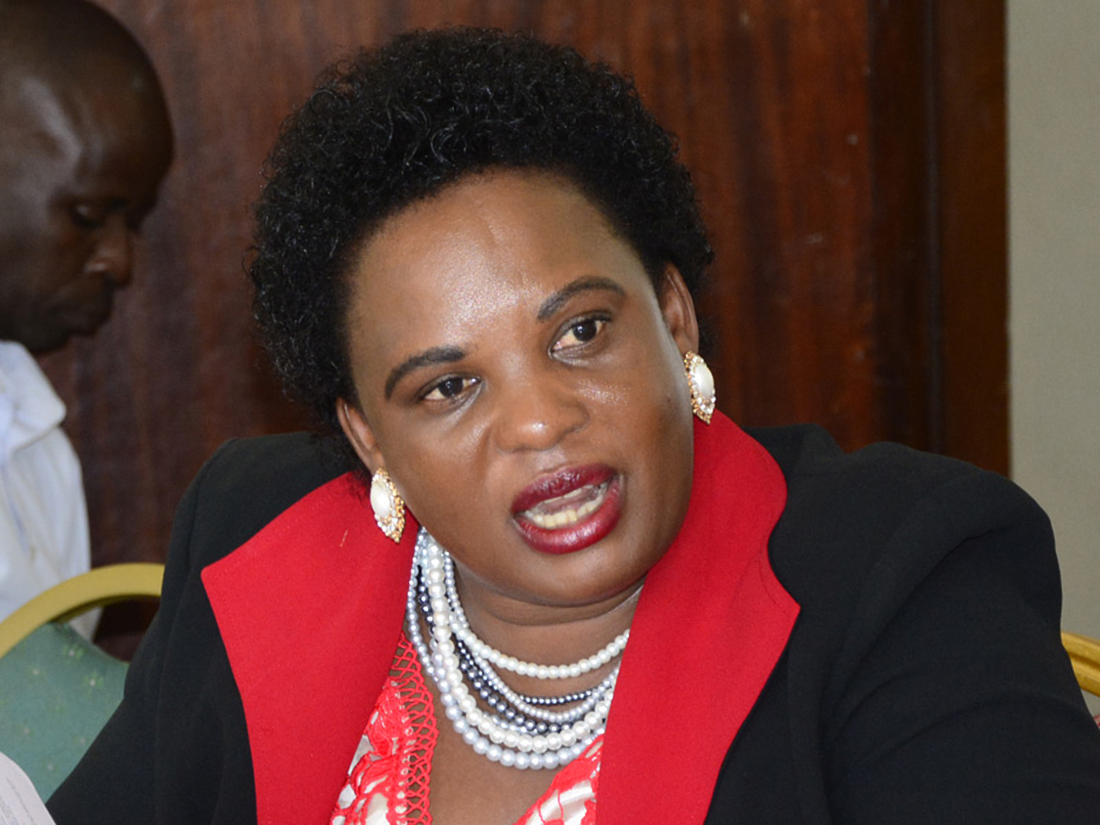 Minister of Lands, Housing and Urban Development, Betty Amongi was grilled by Parliament ovet the oil land compensations (COURTESY PHOTO)