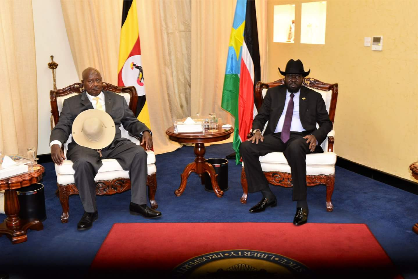 The President with his host,  President Salva Kiir.