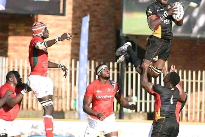 Rugby Cranes (in black) were out classed by Kenya on Saturday.