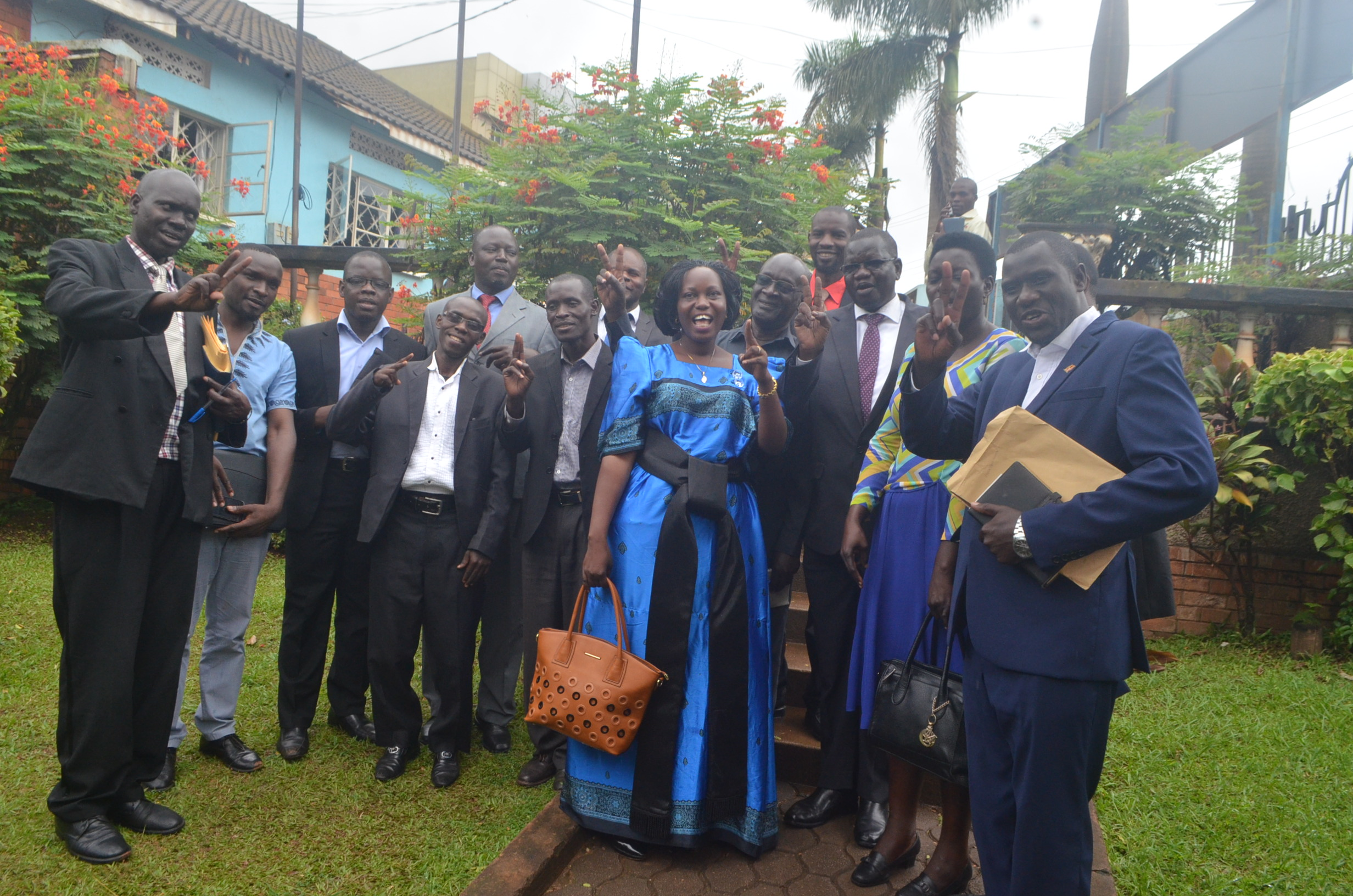 FDC's Eunice Namatende flanked by FDC party president
