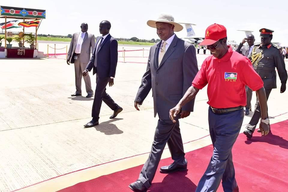 The President t is seen off at Juba airport by vice president Iga Wani
