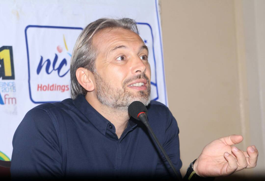 Cranes head coach Sebastian Desabre speaking to the media on Wednesday morning