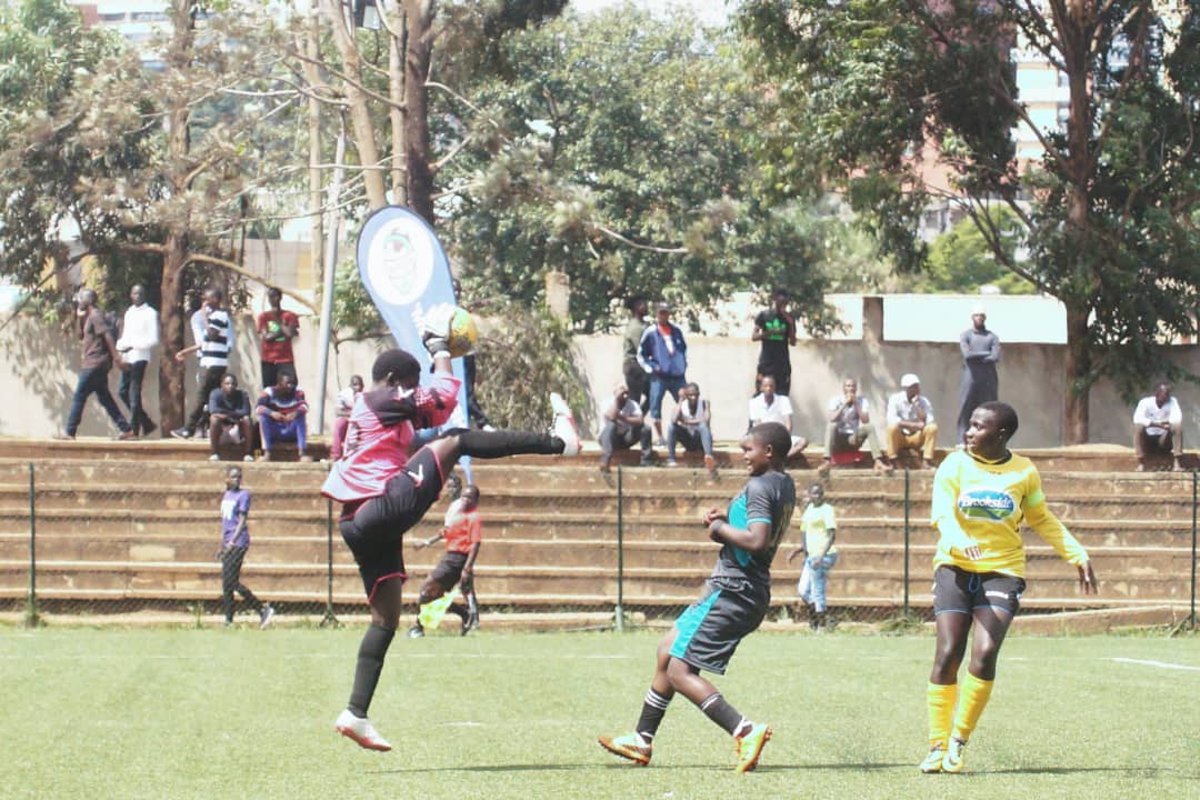 Kawempe goalkeeper picks up a routine ball at Lugogo on Thursday.