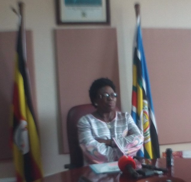 Speaker Rebecca Kadaga addresses journalists at the Live Chat on parliament on Monday.