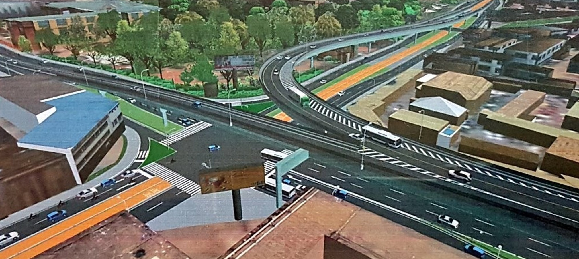 An artistic impression of the Kampala flyover at Clock Tower.