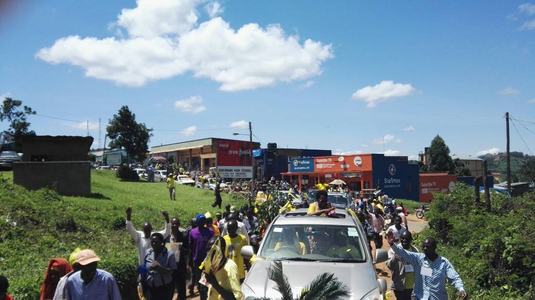 Ms Matsiko's convoy escorted by NRM party supporters.