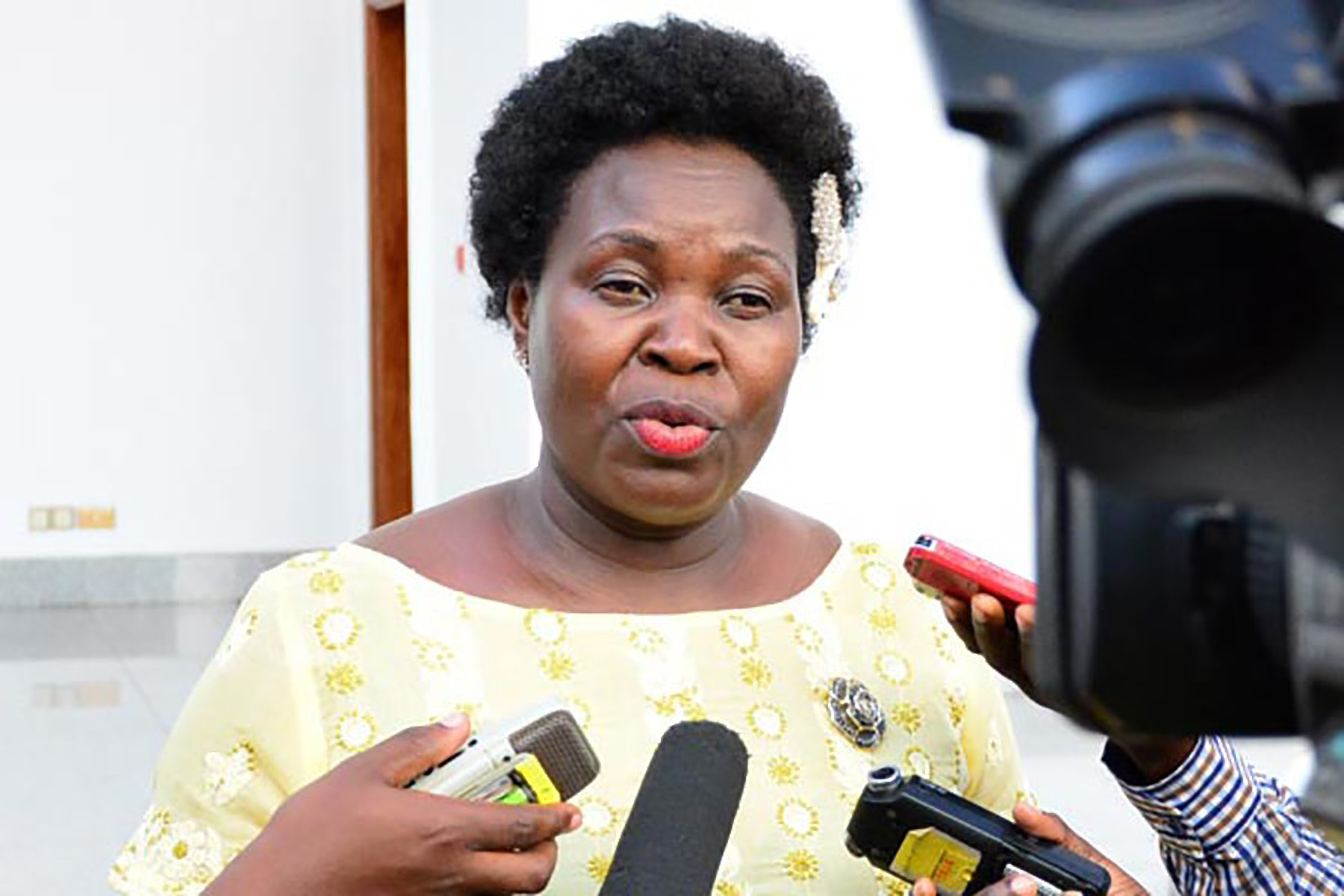 The government chief whip, Ruth Nankabirwa addresses the press (FILE PHOTO)