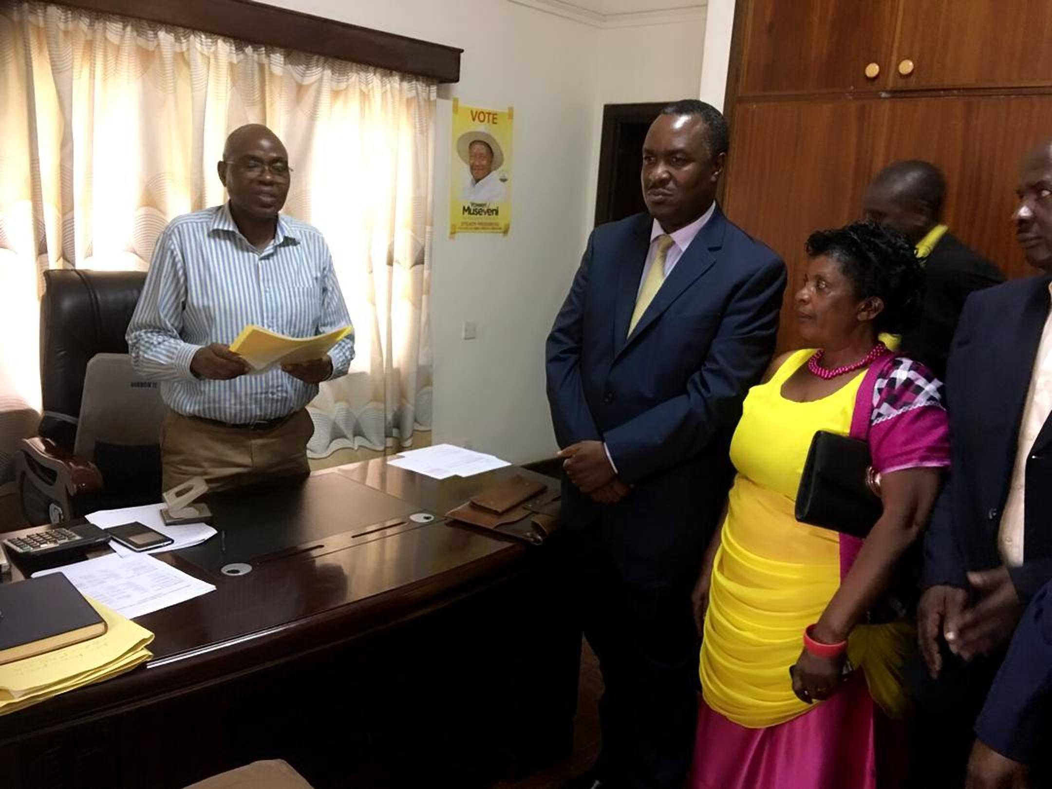 Minister Elioda after being nominated for NRM primaries on Tuesday afternoon (PML PHOTO)