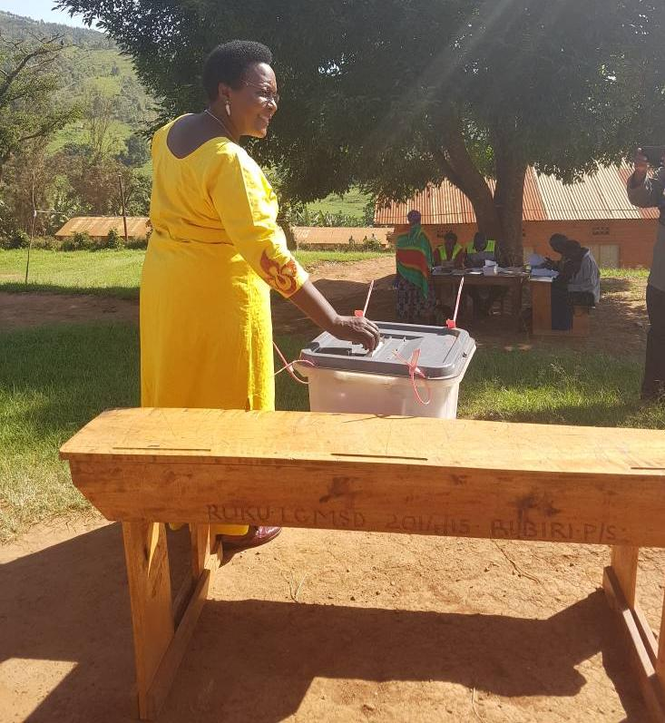 NRM's Winifred Masiko casts her vote in the hotly contested Rukungiri by election losing to FDC's Betty Muzanira (FILE PHOTO)