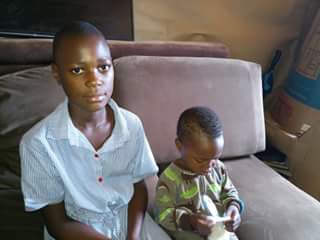 Two rescued young children