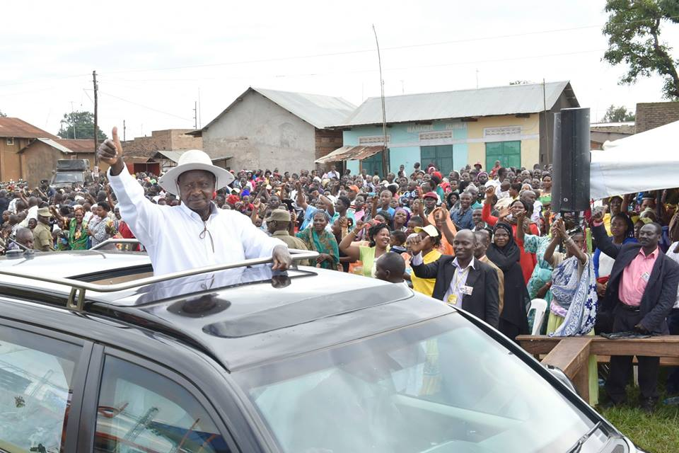 President Museveni addresses the crowd at Mitete Town, Sembabule district recently (PML PHOTO)
