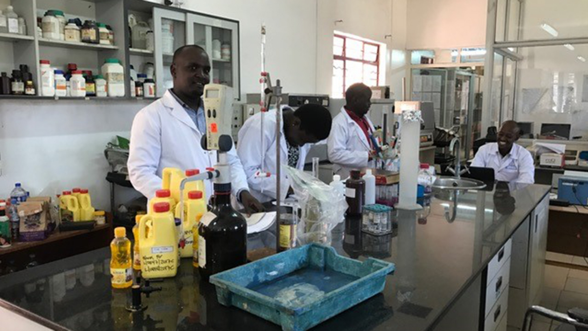 Chemists carry out a test in a government laboratory (COURTESY PHOTO)