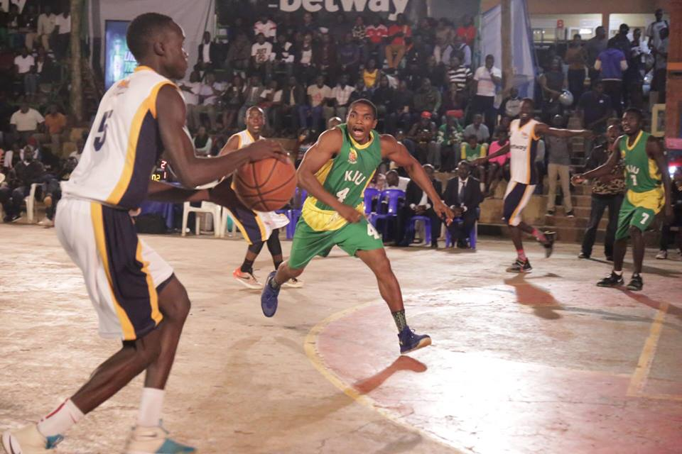 Power's Stephen Wundi (left) prepares to throw a shot against KIU Titans on Friday (Photos by FUBA Media)