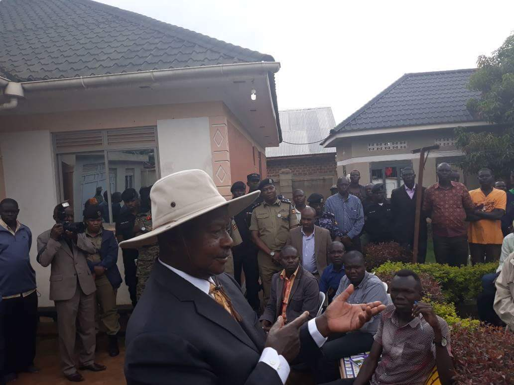 Museveni speaks to mourners at Hon. Abiriga's house. He called the shooters idiots.