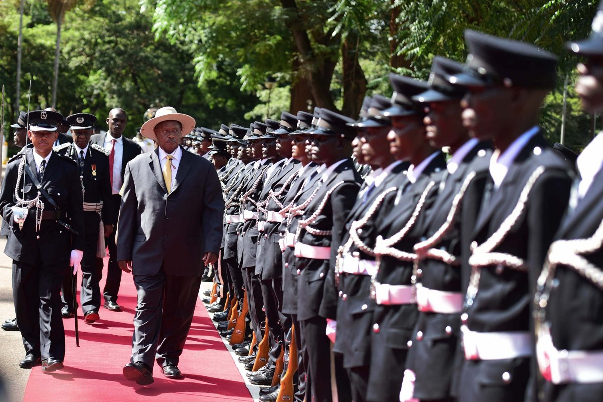 President Museveni inspects a guard-of-honour ahead of the State of Nation Address 2017 (FILE PHOTO)