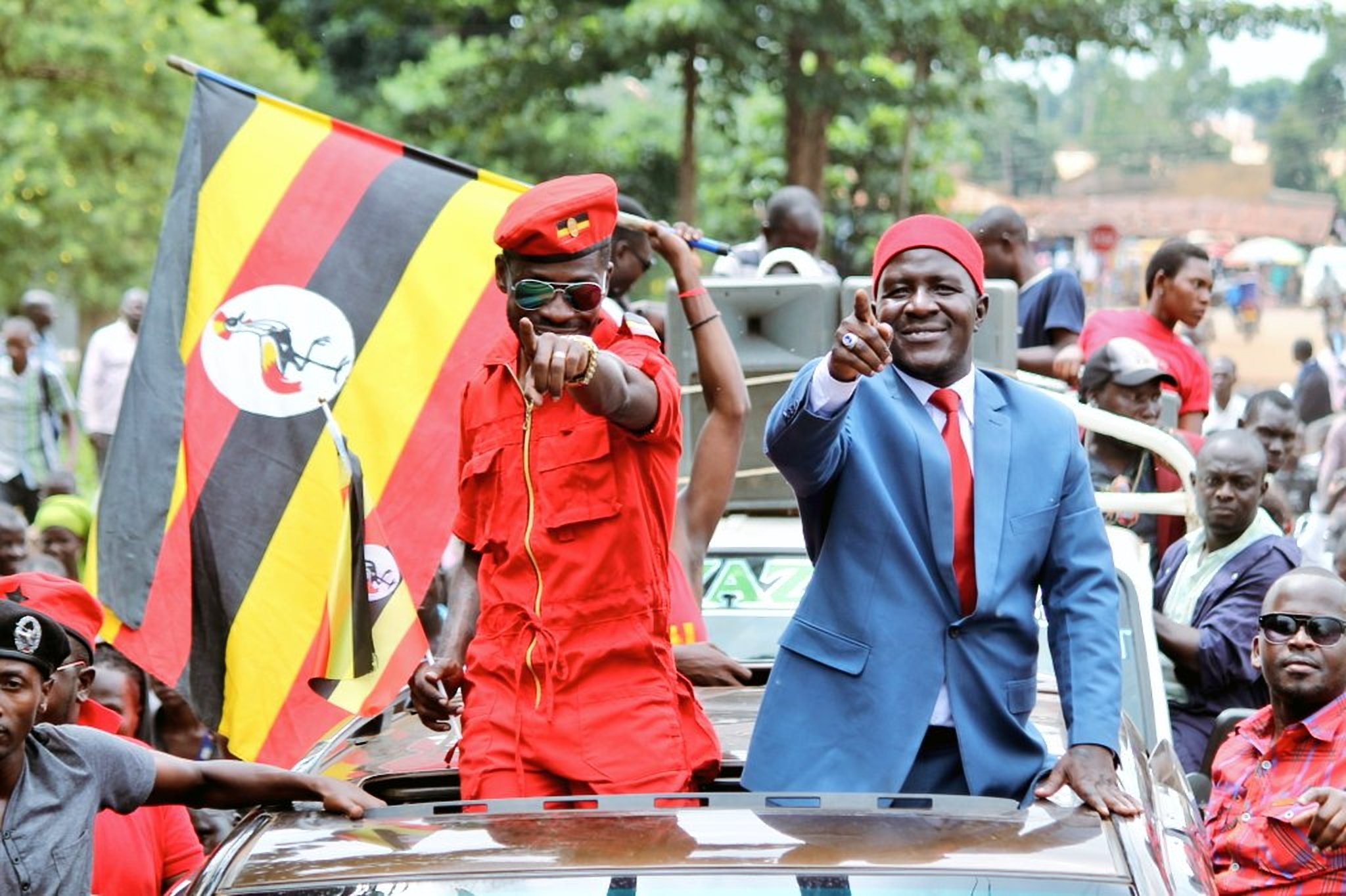 Kyadondo East MP Robert Kyagulanyi, aka Bobi Wine with Asuman Basalirwa in Bugiri. Basalirwa was declared winner in the hotly contested July 27 Bugiri Municipality election (FILE PHOTO)