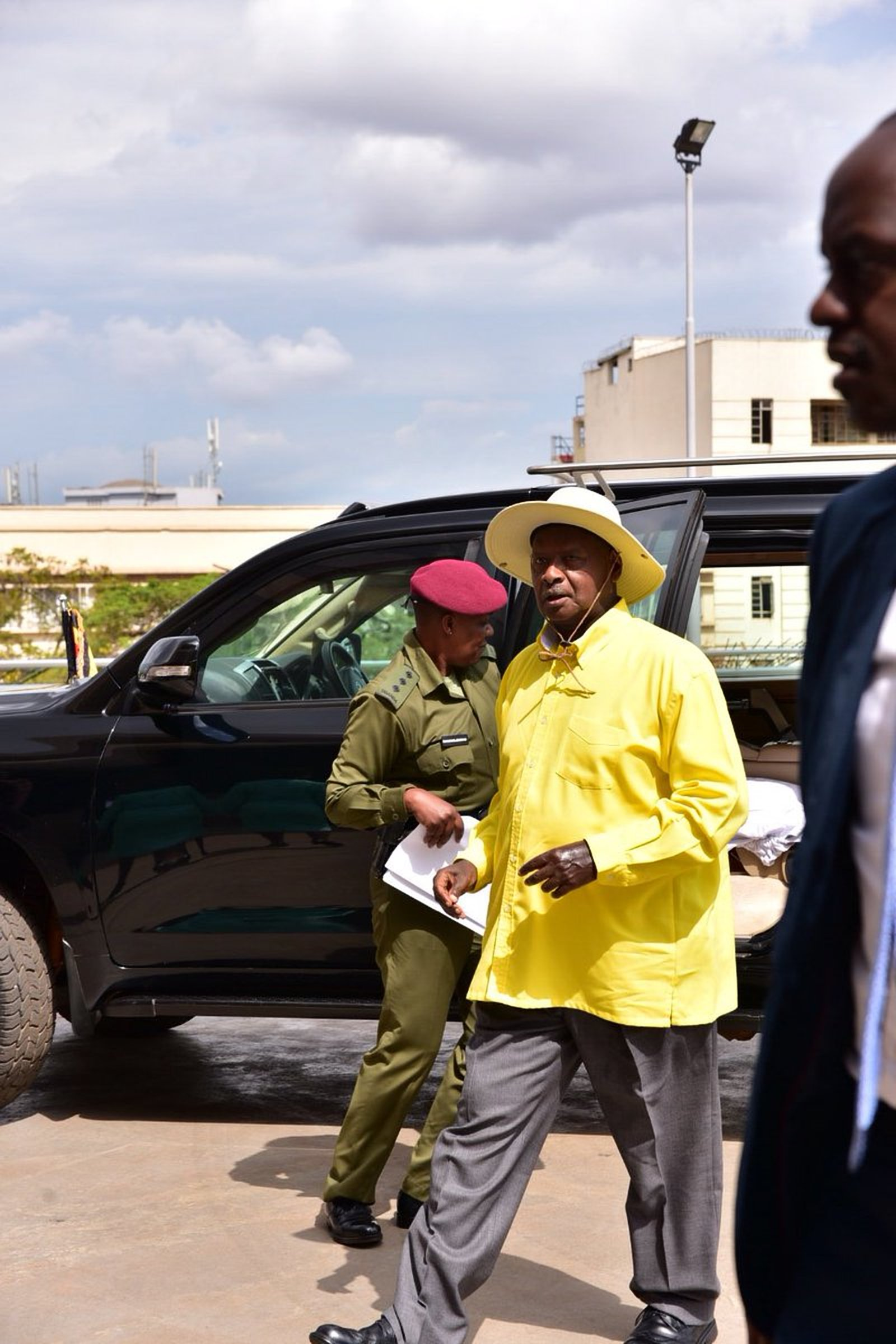 President Museveni arrives at Parliament to address the August House on security Wednesday afternoon (PPU)