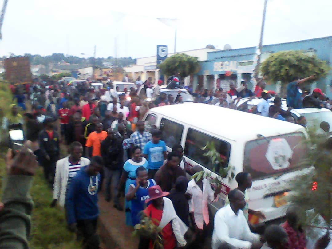 FDC supporters celebrate Muzanira's victory on Friday morning.