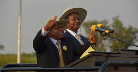 DP President Norbert Mao's brother Dusman Okee campaigns for President Museveni in 2011 in Gulu, against his brother who was running on the DP ticket (File Photo)