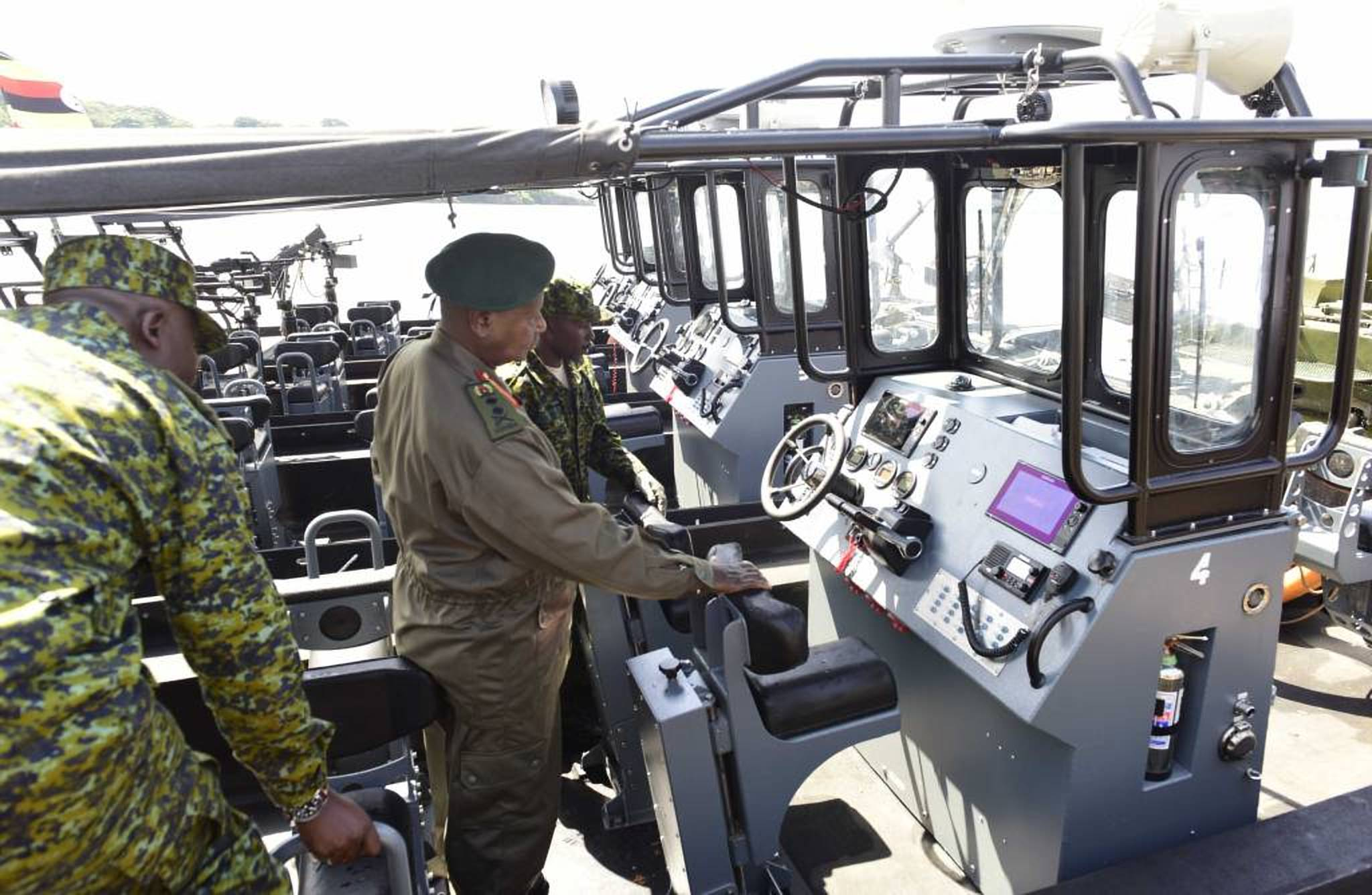 President Museveni unveils the state of art UPDF marine boats (PPU photo)