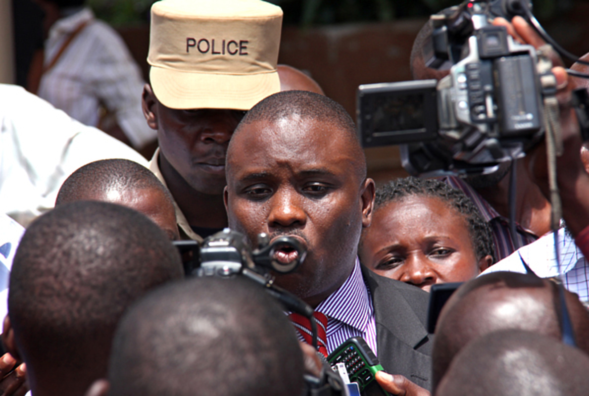 The Kampala Lord Mayor Erias Lukwago speaks to journalists. The Lord Mayor has ordered an audit for his impeachment process at KCCA (FILE PHOTO)