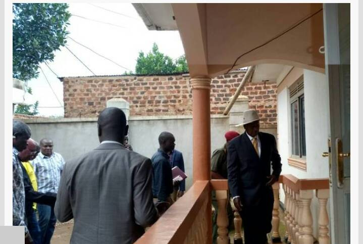 President Museveni at the Late Abiriga's home today morning.