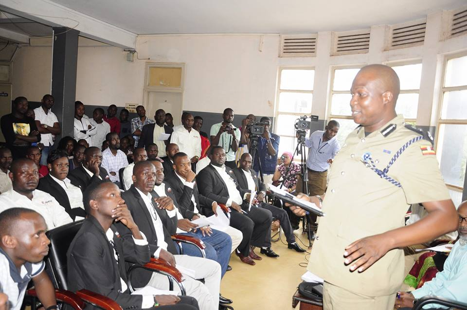 Kampala Metropolitan Police Commander, CP Moses Kafeero speaks to Uganda Film Producers Association yesterday in Kampala.